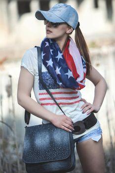styleBREAKER Loop Schlauchschal im USA Flaggen Design, Sterne und Streifen, Stars and Stripes, Tuch, Unisex 01014034 – Bild 3