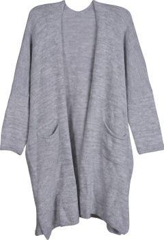 styleBREAKER Oversize Strickjacke mit aufgesetzten Taschen, Strick Long Cardigan ohne Verschluss, Strickmantel, Onesize, Damen 08010052 – Bild 8