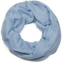 styleBREAKER unifarbener Loop Schal mit Perlen besetzt, Schlauchschal, Tuch, Damen 01016168 – Bild 1
