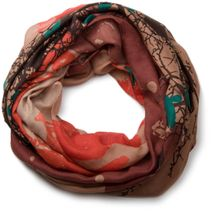 styleBREAKER tree and birds pattern splat style loop tube scarf, transitional material 01018048 – Bild 7