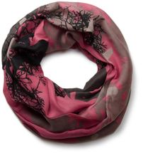 styleBREAKER tree and birds pattern splat style loop tube scarf, transitional material 01018048 – Bild 1