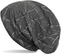 styleBREAKER Beanie Mütze mit Glitzer und Metallic Linien Muster, Slouch Longbeanie, Damen 04024146 – Bild 1