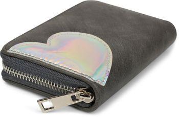 styleBREAKER Mini Geldbörse mit irisierender Metallic Herz Applikation, Reißverschluss, Portemonnaie, Damen 02040109 – Bild 2