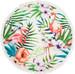 styleBREAKER rundes Strandtuch mit Flamingo, Palmen und Blumen Motiv, Fransen Tuch, Badetuch, Unisex 05050064