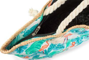 styleBREAKER XXL Strandtasche mit Flamingo Palmen Print und Reißverschluss, Schultertasche, Shopper, Damen 02012247 – Bild 3