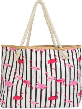 styleBREAKER XXL Strandtasche mit Streifen Flamingo Print und Reißverschluss, Schultertasche, Shopper, Damen 02012252 – Bild 2
