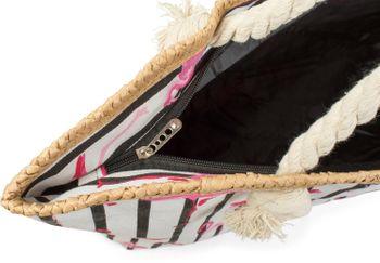 styleBREAKER XXL Strandtasche mit Streifen Flamingo Print und Reißverschluss, Schultertasche, Shopper, Damen 02012252 – Bild 4