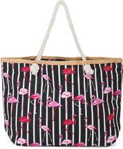 styleBREAKER XXL Strandtasche mit Streifen Flamingo Print und Reißverschluss, Schultertasche, Shopper, Damen 02012252 – Bild 11