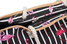 styleBREAKER XXL Strandtasche mit Streifen Flamingo Print und Reißverschluss, Schultertasche, Shopper, Damen 02012252 – Bild 13