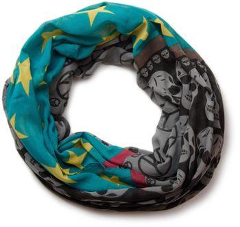 styleBREAKER Sterne Peace Totenkopf Skull Muster Loop Schlauchschal 01016044 – Bild 14