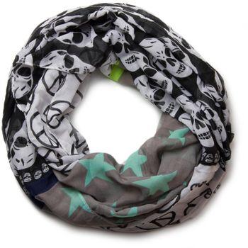 styleBREAKER Sterne Peace Totenkopf Skull Muster Loop Schlauchschal 01016044 – Bild 15