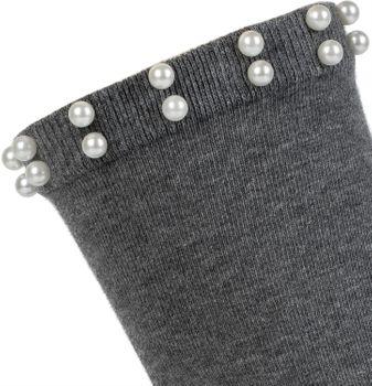styleBREAKER Damen Socken mit Perlen, Größe 35-41 EU / 5-9 US / 4-7 UK, Söckchen 08030004 – Bild 2