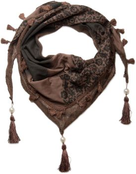 styleBREAKER printed triangle scarf with tassels and beads, scarf, shawl 01020016 – Bild 3