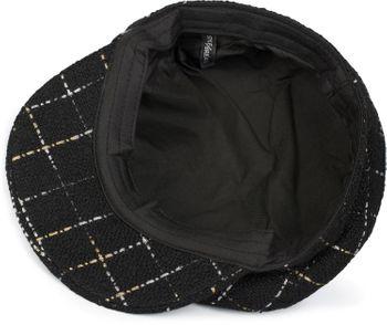 styleBREAKER Damen Bakerboy Schirmmütze mit Metallic Karo Muster, Ballonmütze, Newsboy Cap 04023061 – Bild 6