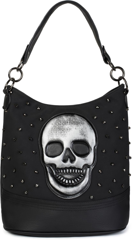 styleBREAKER Damen Hobo Bag Handtasche mit Totenkopf und Nieten, Shopper, Schultertasche, Tasche 02012264