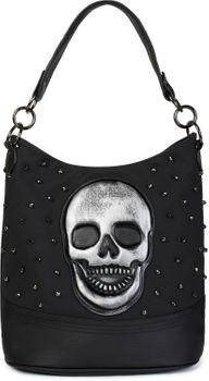 styleBREAKER Damen Hobo Bag Handtasche mit Totenkopf und Nieten, Shopper, Schultertasche, Tasche 02012264 – Bild 1