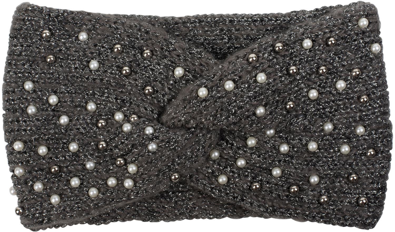 Metallic Garn und Knoten styleBREAKER Damen Strick Stirnband mit Perlen Headband 04026029 Haarband