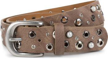 styleBREAKER Damen Gürtel mit Perlen, Strass und Nieten, Vintage Nietengürtel, kürzbar 03010090 – Bild 1
