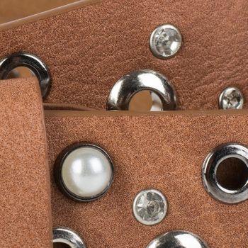 styleBREAKER Damen Gürtel mit Perlen, Strass und Nieten, Vintage Nietengürtel, kürzbar 03010090 – Bild 10