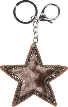 styleBREAKER Damen Stern Schlüsselanhänger mit Strass, Samt Optik, Karabiner, Befestigungsring 05050070 – Bild 13