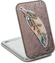 styleBREAKER eckiger Taschenspiegel gestickte Strass Feder, Perlen und Kette, 1X / 3X Vergrößerung, Kompaktspiegel, klappbar, 2 Seiten 05070007 – Bild 11