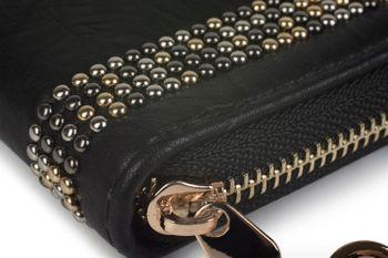 styleBREAKER Damen Geldbörse mit kleinen Nieten, Reißverschluss, Portemonnaie 02040116 – Bild 3