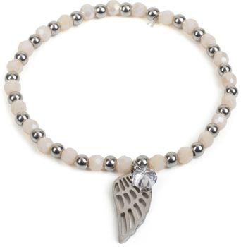 styleBREAKER Damen Edelstahl Perlen Armband mit Flügel und Strass Charm Anhänger, Gummizug, Kugelarmband, Schmuck 05040156 – Bild 7