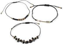 styleBREAKER Damen Stoff Armband 3er Set mit Perlen, Strass, Pfeil und Steinen, Schmuck 05040160 – Bild 2