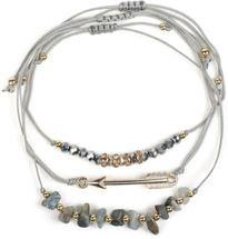 styleBREAKER Damen Stoff Armband 3er Set mit Perlen, Strass, Pfeil und Steinen, Schmuck 05040160 – Bild 5
