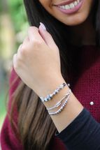 styleBREAKER Damen Stoff Armband 3er Set mit Perlen, Strass, Pfeil und Steinen, Schmuck 05040160 – Bild 9