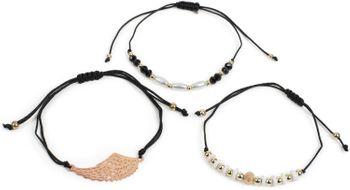 styleBREAKER Damen Stoff Armband 3er Set mit Flügel und Perlen, Schmuck 05040161 – Bild 2