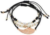 styleBREAKER Damen Stoff Armband 3er Set mit Flügel und Perlen, Schmuck 05040161 – Bild 1