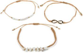 styleBREAKER Damen Stoff Armband 3er Set mit Infinity Symbol, Perlen und Steinen, Schmuck 05040163 – Bild 5