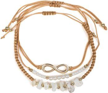 styleBREAKER Damen Stoff Armband 3er Set mit Infinity Symbol, Perlen und Steinen, Schmuck 05040163 – Bild 4
