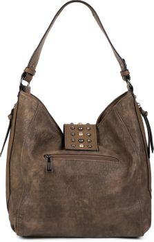 styleBREAKER Damen Hobo Bag Handtasche mit Nieten besetztem Verschluss, Shopper, Schultertasche, Tasche 02012270 – Bild 3