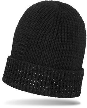 styleBREAKER Damen Feinstrick Mütze mit glitzernden Strass Steinen besetzter Krempe, warme Winter Strickmütze 04024157 – Bild 1