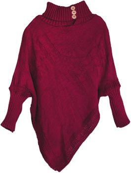 styleBREAKER Damen Feinstrick Poncho mit Zopfmuster und Ärmeln, Schalkragen 08010055 – Bild 4