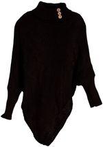 styleBREAKER Damen Feinstrick Poncho mit Zopfmuster und Ärmeln, Schalkragen 08010055 – Bild 2