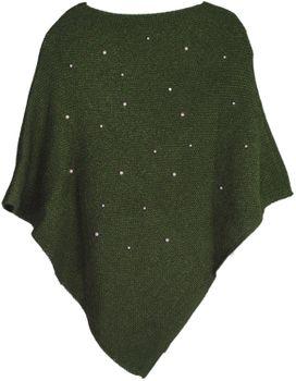 styleBREAKER Damen Feinstrick Poncho mit Perlen Applikation, Rundhals 08010056 – Bild 12