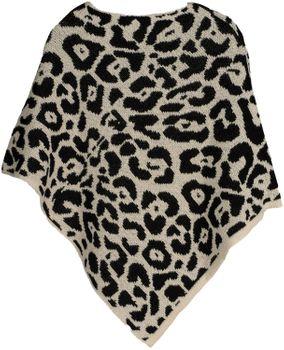 styleBREAKER Damen Feinstrick Poncho mit Leoparden Muster, Animalprint, Rundhals 08010057 – Bild 6