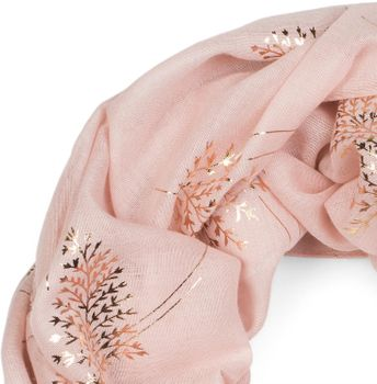 styleBREAKER Damen Loop Schal mit Metallic Farn und Blätter Print, Schlauchschal, Tuch 01017083 – Bild 3