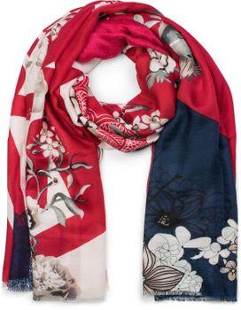 styleBREAKER Damen Schal mit Blumen, Vögel Ornament Muster und Fransen, Stola, Tuch 01017086 – Bild 16