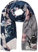 styleBREAKER Damen Schal mit Blumen, Vögel Ornament Muster und Fransen, Stola, Tuch 01017086 – Bild 13
