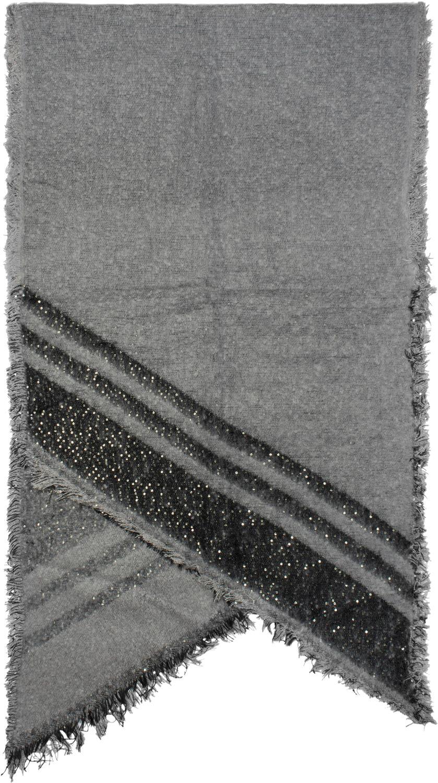 Stola Damen XXL Schal mit Streifen Pailletten und Fransen Winter Strickschal