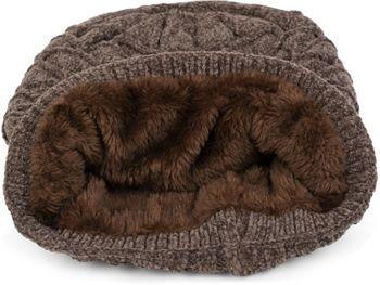 styleBREAKER Unisex Chenille Beanie Mütze mit Waben Strick Muster und Fleece Futter, Winter Slouch Longbeanie 04024160 – Bild 4