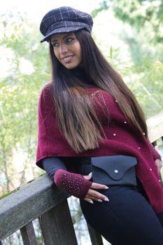 styleBREAKER Damen Fingerlose Strick Handschuhe mit Strass, Winter Strickhandschuhe 09010017 – Bild 13