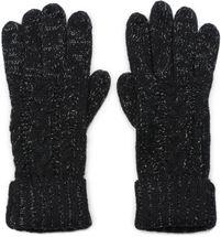 styleBREAKER Damen Strick Handschuhe mit Zopfmuster, Metallic Look und doppeltem Bund, Winter Strickhandschuhe 09010018 – Bild 1