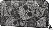 styleBREAKER Damen Geldbörse mit Totenkopf Paisley Print, Reißverschluss, Portemonnaie 02040118 – Bild 1