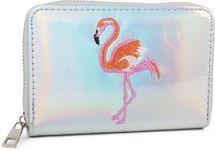 styleBREAKER Damen Mini Geldbörse in irisierender Metallic Optik mit gesticktem Flamingo, Reißverschluss, Portemonnaie 02040119 – Bild 1