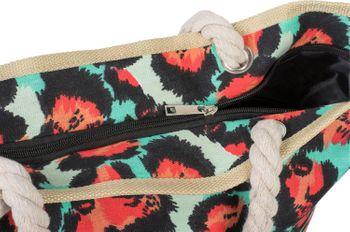 styleBREAKER Damen Strandtasche mit Leoparden Print und Reißverschluss, Schultertasche, Shopper 02012277 – Bild 3